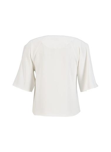 Setre Siyah V Yaka Volan Kol Bluz Ekru